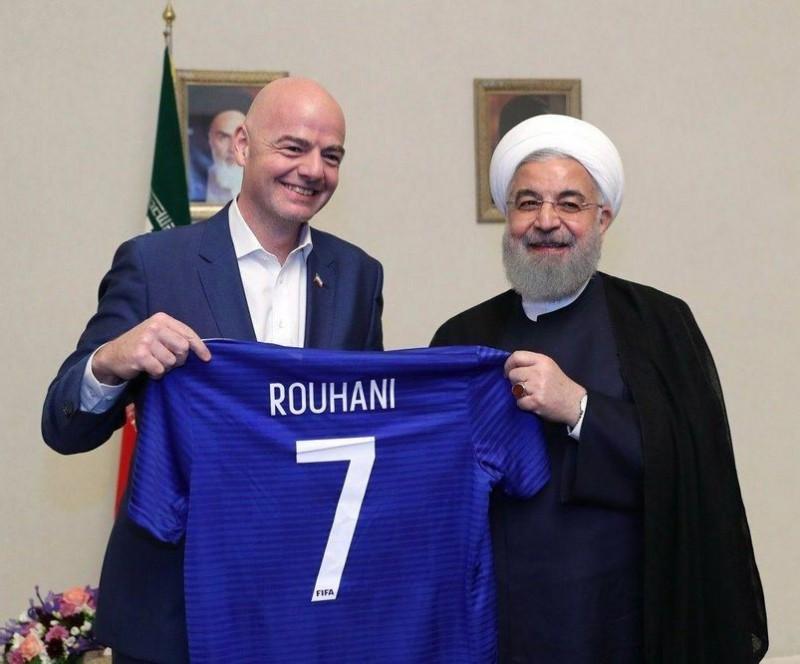 Президент ФИФА Джанни Инфантино и президент Ирана Хасан Рухани, Тегеран